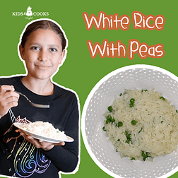 white rice with peas kids cooking