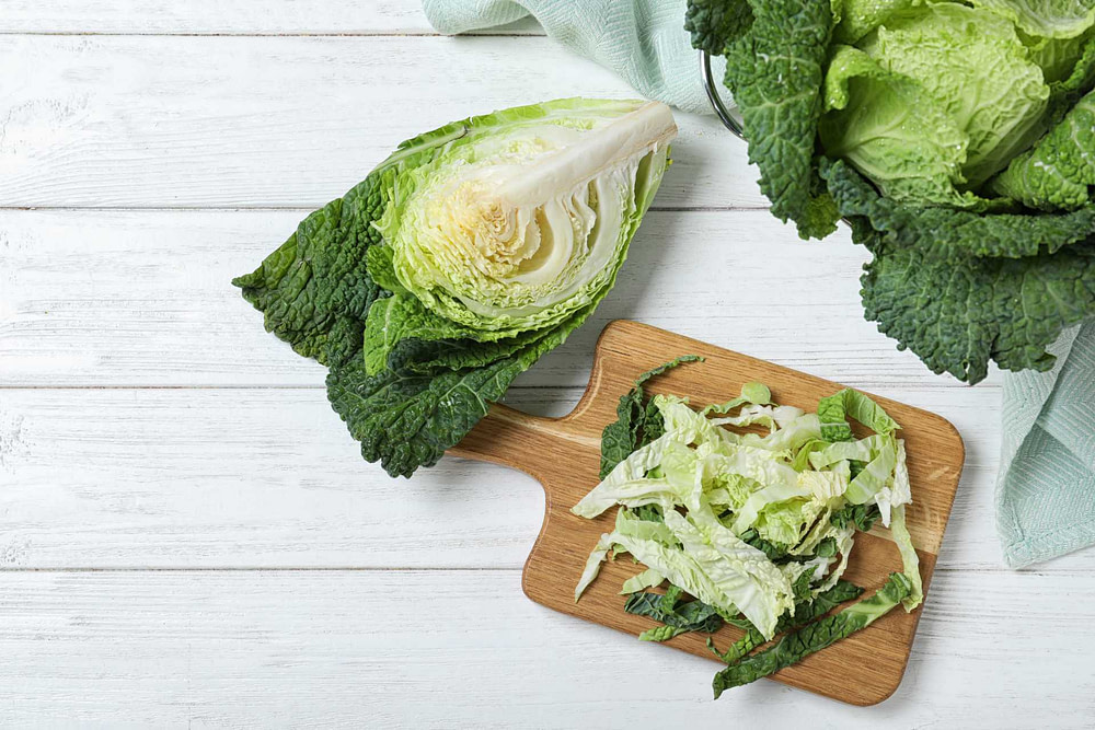 Whole, chopped, and shredded savoy cabbage